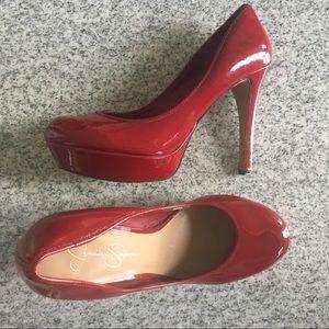 Jessica Simpson red patent leather heels platform